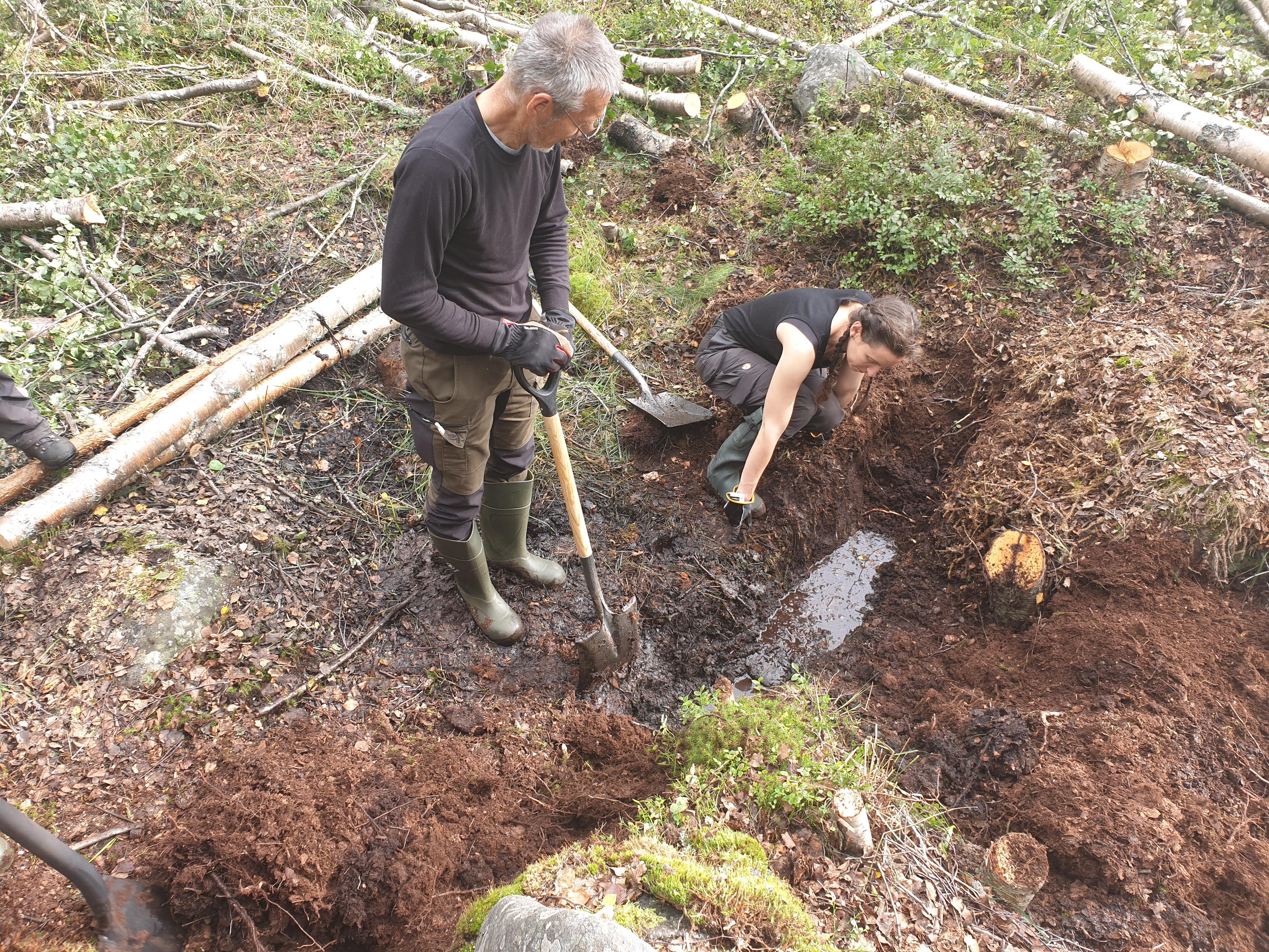 Först grävde vi en djup fåra som sedan fylldes med torv och därefter stockar.